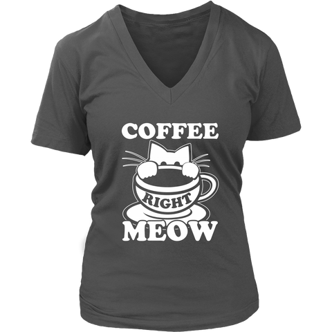 Coffee Right Meow White V-Neck Cat Shirt