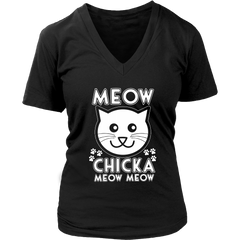 Meow Chicka Meow Meow White V-Neck Cat Shirt - Just Love Cats