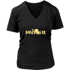 Namaste Downward V-Neck Cat Shirt - Just Love Cats