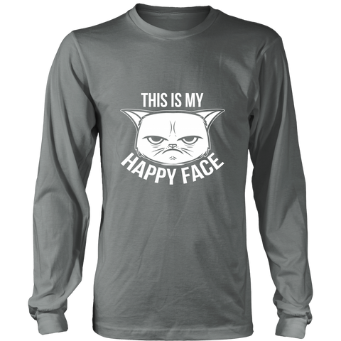 This Is My Happy Face White Long Sleeve Shirt