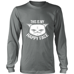 This Is My Happy Face White Long Sleeve Shirt - Just Love Cats