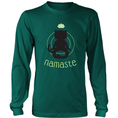 Namaste Black Long Sleeve Shirt - Just Love Cats