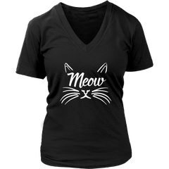 Meow White V-Neck Cat Shirt - Just Love Cats