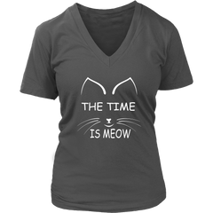 The Time Is Meow White V-Neck Cat Shirt - Just Love Cats