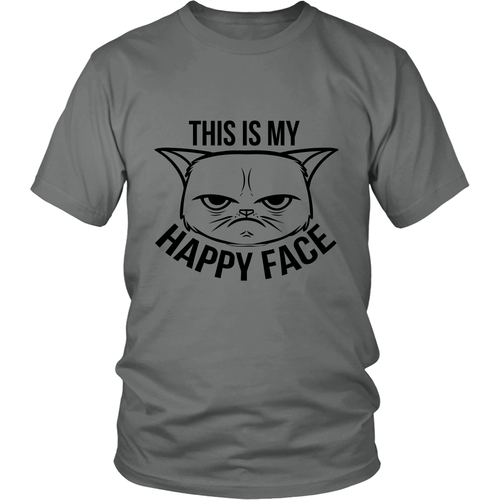 This Is My Happy Face Black Unisex Cat T-Shirt
