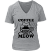 Coffee Right Meow Black V-Neck Cat Shirt - Just Love Cats