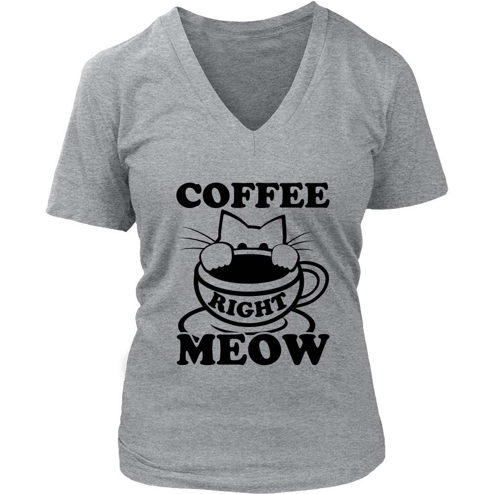 Coffee Right Meow Black V-Neck Cat Shirt