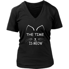 The Time Is Meow White V-Neck Cat Shirt
