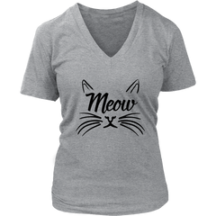 Meow Black V-Neck Cat Shirt - Just Love Cats