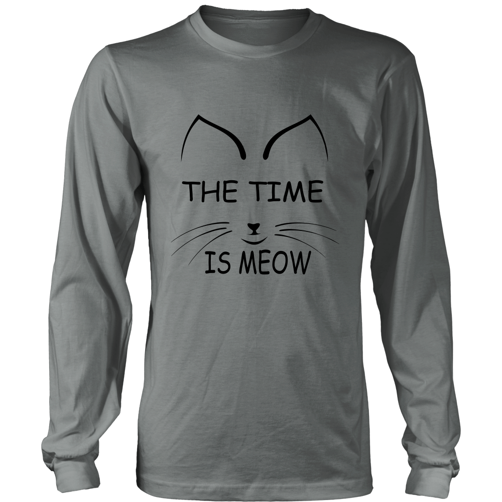 The Time Is Meow Black Long Sleeve Shirt - Just Love Cats