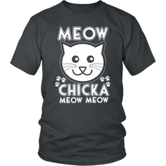 Meow Chicka Meow Meow White Unisex Cat T-Shirt - Just Love Cats