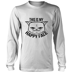 This Is My Happy Face Black Long Sleeve Shirt