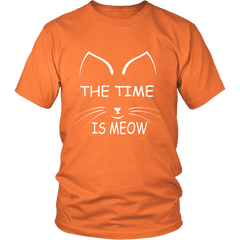 The Time Is Meow White Unisex Cat T-Shirt - Just Love Cats