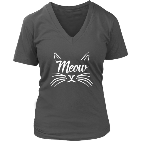 Meow White V-Neck Cat Shirt