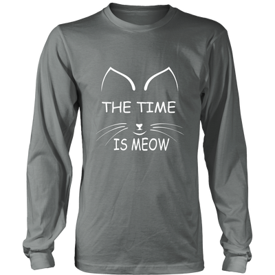 The Time Is Meow White Long Sleeve Shirt - Just Love Cats