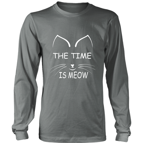 The Time Is Meow White Long Sleeve Shirt