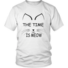 The Time Is Meow Black Unisex Cat T-Shirt - Just Love Cats