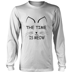 The Time Is Meow Black Long Sleeve Shirt