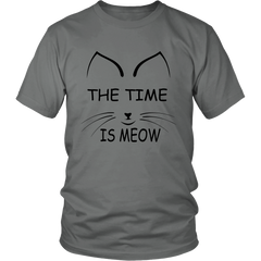 The Time Is Meow Black Unisex Cat T-Shirt