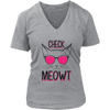 Check Meowt Hot Pink Glasses V-Neck Cat Shirt - Just Love Cats