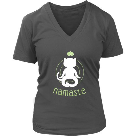 Namaste White V-Neck Cat Shirt