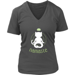 Namaste White V-Neck Cat Shirt - Just Love Cats