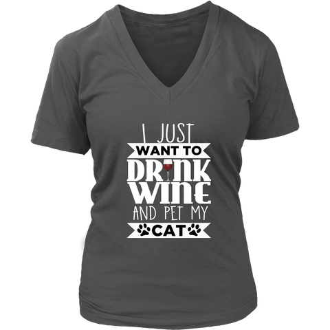 Drink Wine & Pet My Cat V-Neck Cat Shirt