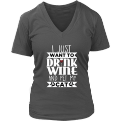Drink Wine & Pet My Cat V-Neck Cat Shirt - Just Love Cats