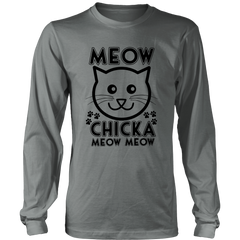 Meow Chicka Meow Meow Black Long Sleeve Shirt