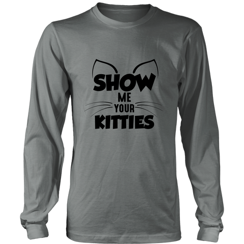 Show Me Your Kitties Black Long Sleeve Shirt
