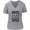 Meow Chicka Meow Meow Black V-Neck Cat Shirt - Just Love Cats