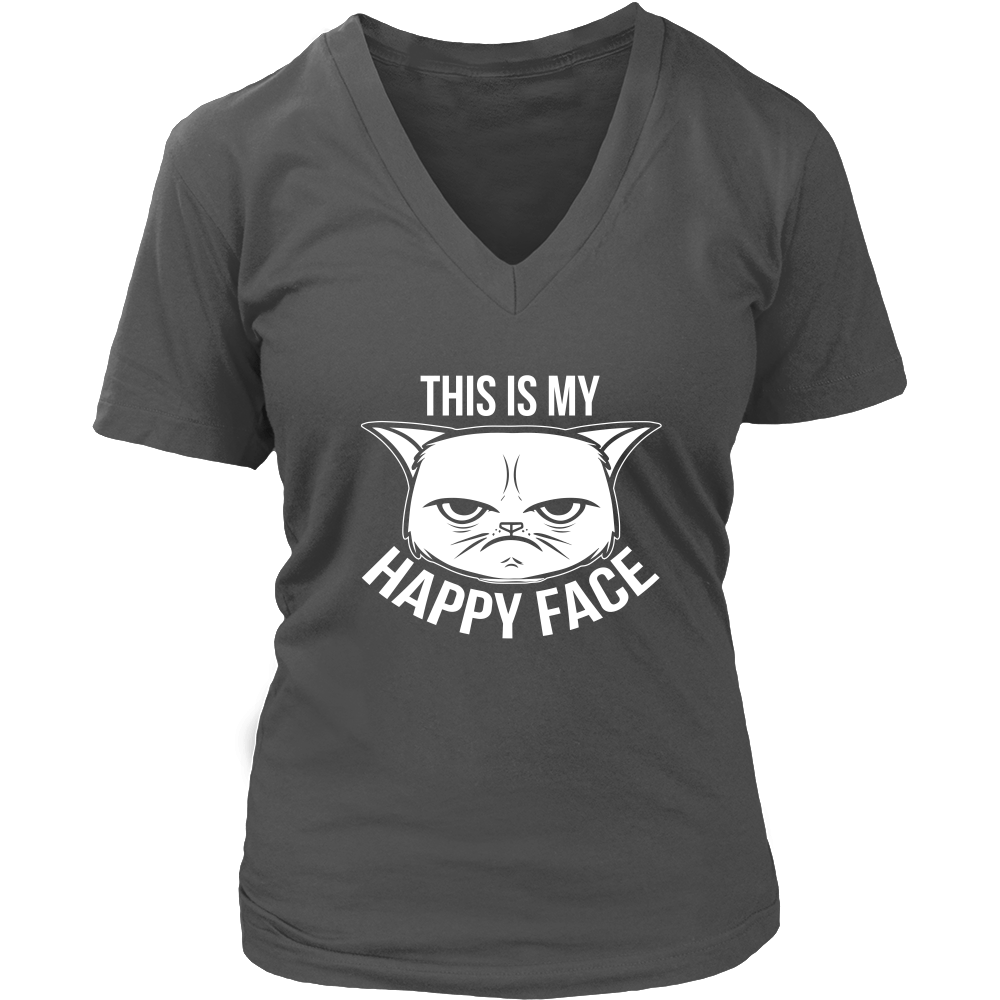 This Is My Happy Face White V-Neck Cat Shirt - Just Love Cats