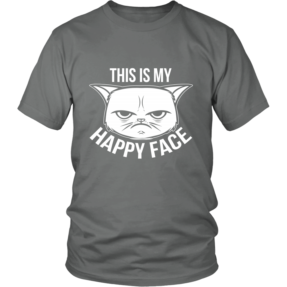 This Is My Happy Face White Unisex Cat T-Shirt - Just Love Cats