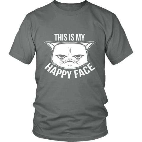 This Is My Happy Face White Unisex Cat T-Shirt