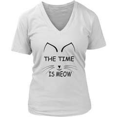 The Time Is Meow Black V-Neck Cat Shirt - Just Love Cats