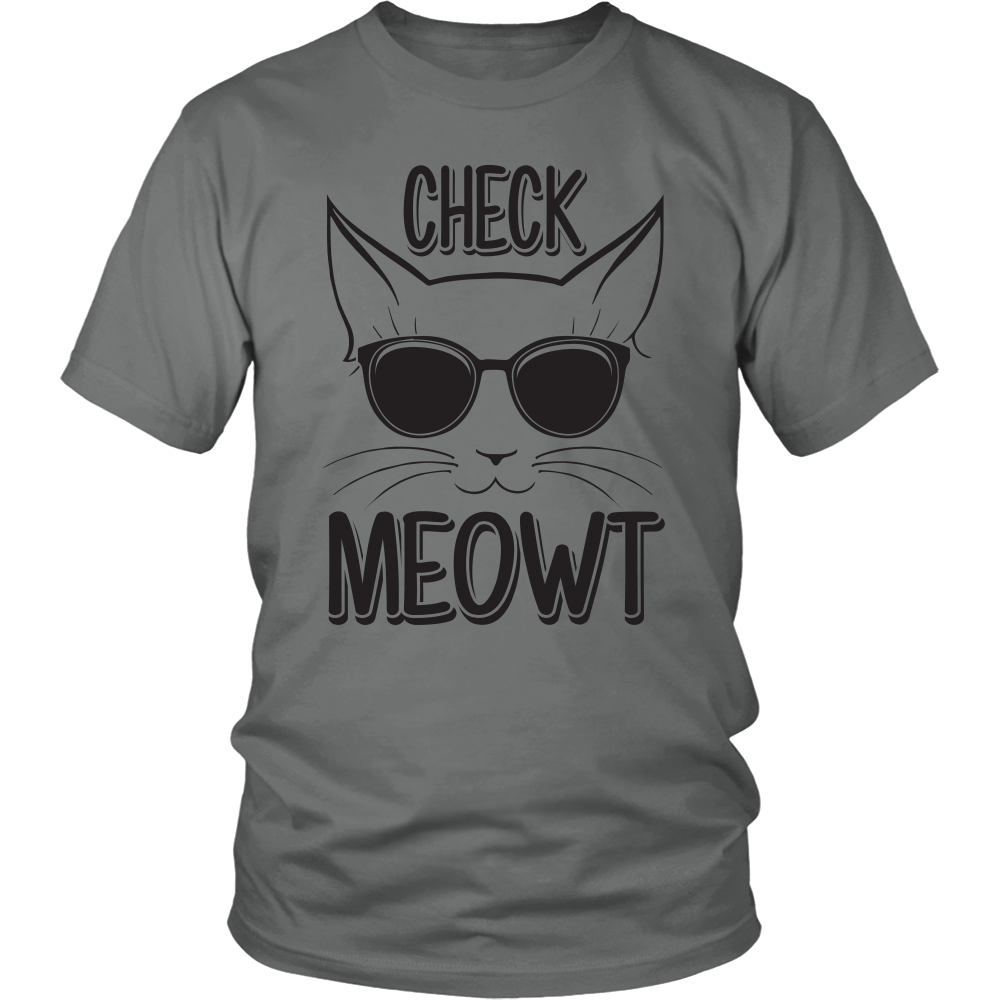 Check Meowt Black Glasses Unisex Cat T-Shirt - Just Love Cats