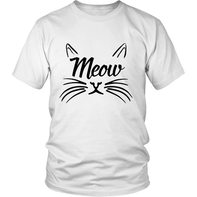 Meow Black Unisex Cat T-Shirt - Just Love Cats