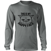 This Is My Happy Face Black Long Sleeve Shirt - Just Love Cats