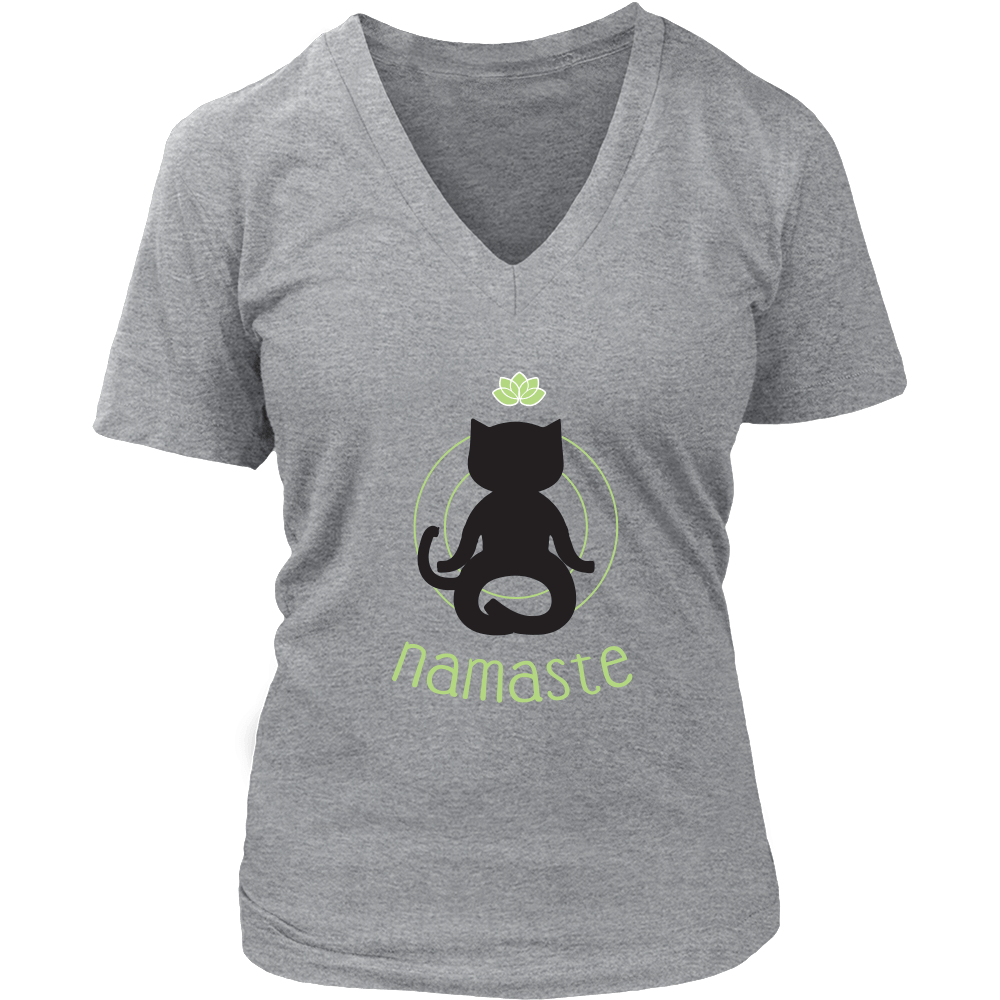 Namaste Black V-Neck Cat Shirt - Just Love Cats