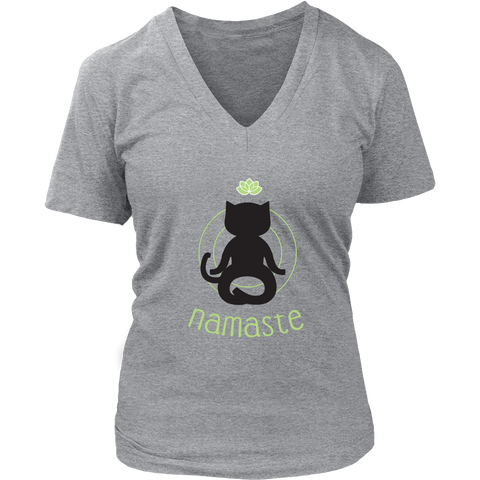 Namaste Black V-Neck Cat Shirt