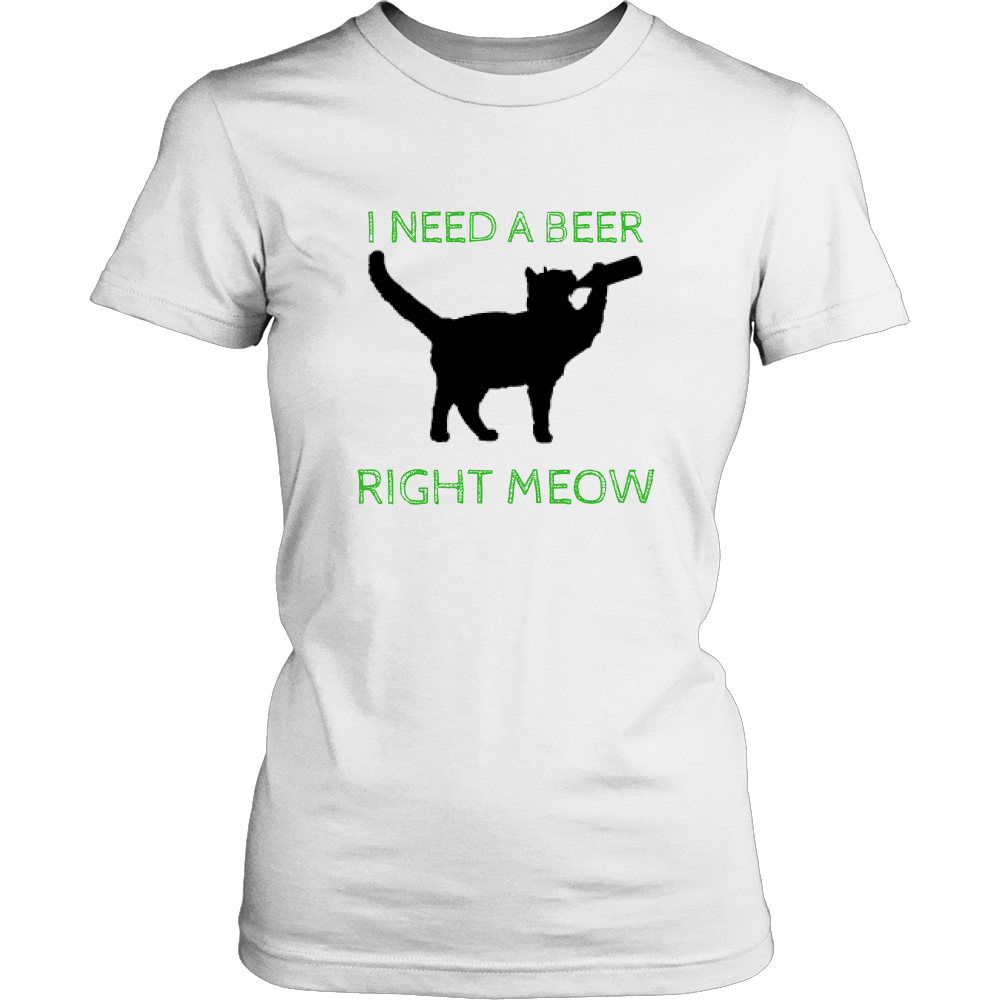I Need A Beer Right Meow T-Shirt - Just Love Cats
