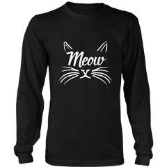 Meow White Long Sleeve Shirt - Just Love Cats