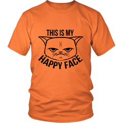 This Is My Happy Face Black Unisex Cat T-Shirt - Just Love Cats