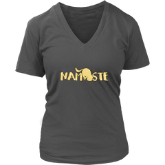 Namaste Downward V-Neck Cat Shirt