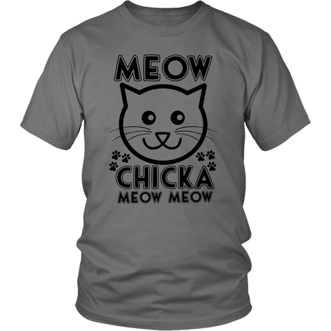 Meow Chicka Meow Meow Black Unisex Cat T-Shirt