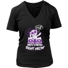 Let's Get This Party Started Right Meow V-Neck Cat Shirt - Just Love Cats