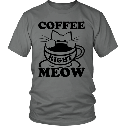 Coffee Right Meow Black Unisex Cat T-Shirt