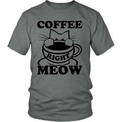 Coffee Right Meow Black Unisex Cat T-Shirt - Just Love Cats