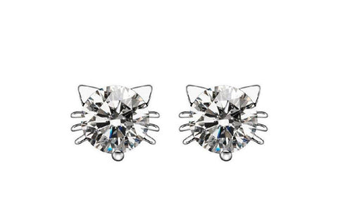 Austria Crystal Cat Stud Earrings