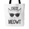 Black & White Check Meowt Cat Tote Bag - Just Love Cats
